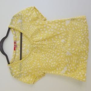 Boden Yellow Floral Button Front Top Shirt US 6